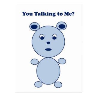 YouTalking to ME Blue Bear Postcard