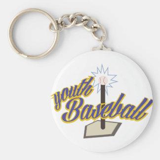 Youth Baseball Basic Round Button Keychain