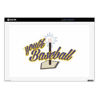 "Youth Baseball Decals For 17"" Laptops"