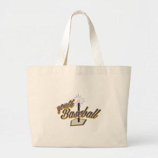 Youth Baseball Large Tote Bag