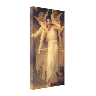 Youth by Bouguereau, Vintage Angels, Victorian Art Stretched Canvas Print