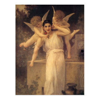 Youth by Bouguereau, Vintage Angels, Victorian Art Postcard