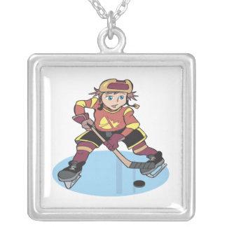 Youth Hockey Square Pendant Necklace