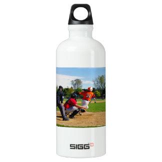 Youth League Baseball Batter Hitting Ball Aluminum Water Bottle
