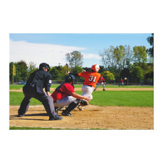 Youth League Baseball Batter Hitting Ball Canvas Print