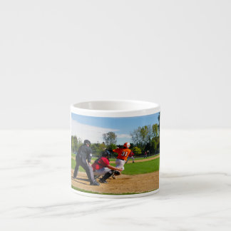 Youth League Baseball Batter Hitting Ball Espresso Cup