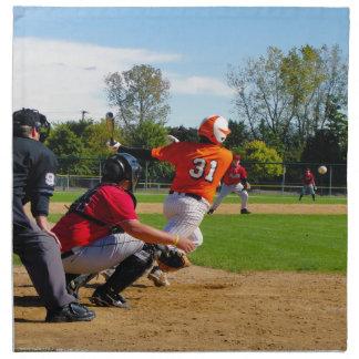 Youth League Baseball Batter Hitting Ball Napkins