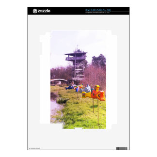 youth park wooden tower and flying wooden fishes decal for iPad 2