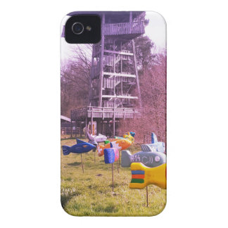 youth park wooden tower and flying wooden fishes iPhone 4 case