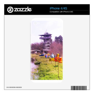 youth park wooden tower and flying wooden fishes iPhone 4 skins