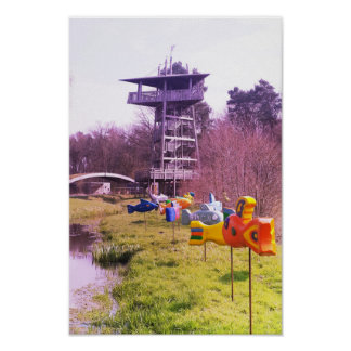 youth park wooden tower and wooden flying fishes poster