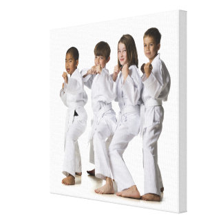 youth practicing martial arts 2 canvas print