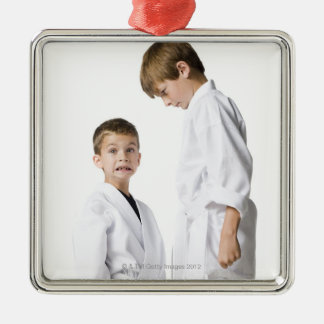 youth practicing martial arts metal ornament
