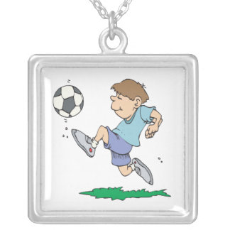 Youth Soccer Square Pendant Necklace