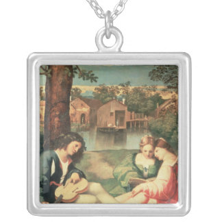 Youth with a guitar and two girls sitting silver plated necklace