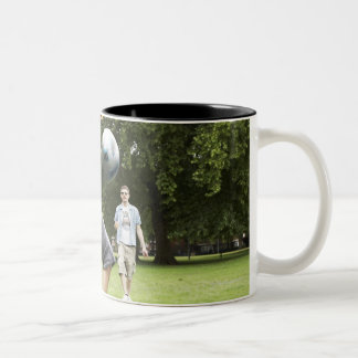 youth, young, friends, park, bbq, grass, trees, Two-Tone coffee mug