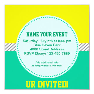 Youthful Yellow and Teal Invitation