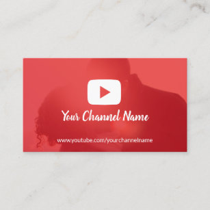 Youtube business cards zazzle youtube channel custom photo youtuber business card reheart Image collections