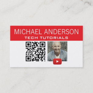 Youtube business cards templates zazzle youtube channel logo and qr code modern youtuber business card reheart Image collections