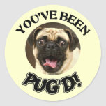 YOU'VE BEEN PUG'D! - FUNNY PUG DOG CLASSIC ROUND STICKER