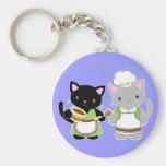 Yoyo and Suki Neko baking kitties Keychains