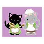 Yoyo and Suki Neko baking kitties Postcards