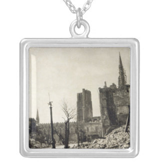 Ypres from Rue de Ville, June 1915 Silver Plated Necklace