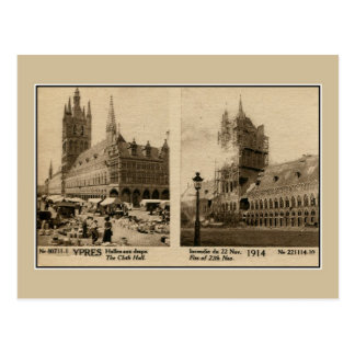 Ypres the Cloth hall before the destruction 1914 Postcard
