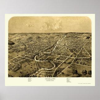 Ypsilanti, mapa panorámico del MI - 1868 Impresiones