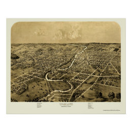Ypsilanti, MI Panoramic Map - 1868 Poster