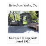 Yreka, CA, entrada al parque de Yreka Tarjeta Postal