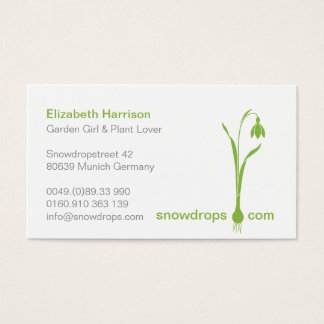 ♥ Ysigns *Galanthus nivalis* Green Snowdrop 1c Business Card