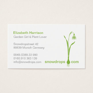 ♥ Ysigns *Galanthus nivalis* Green Snowdrops 1b Business Card