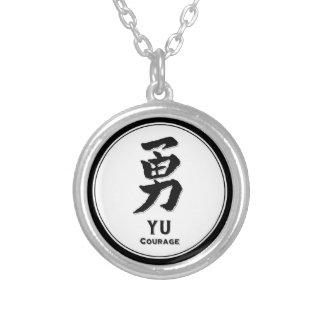 YU courage bushido virtue samurai kanji Round Pendant Necklace