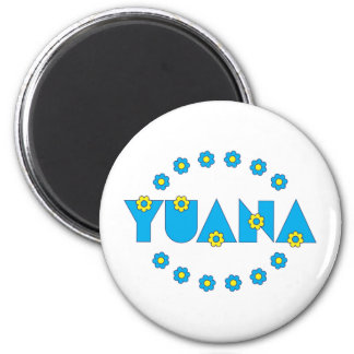 Yuana in Flores Blue Refrigerator Magnets