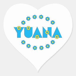 Yuana in Flores Blue Heart Sticker