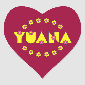 Yuana in Flores Yellow Heart Sticker