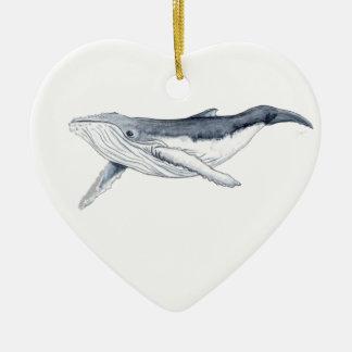 Yubarta drinks whale Christmas decoration heart Ceramic Ornament