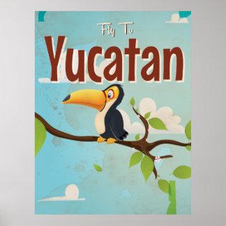 Yucatan Bird Vintage vacation Poster
