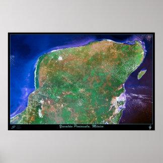 Yucatan Peninsula, Mexico satellite poster