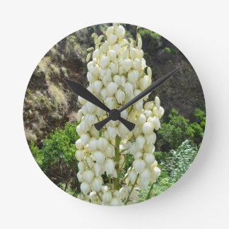 Yucca flowers in the Azores. Round Wall Clock