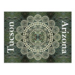 Yucca Mandala on Green Frond Pattern Post Cards