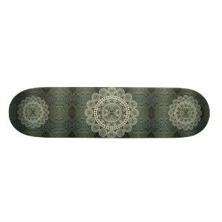 Yucca Mandala on Green Frond Pattern Skateboard Deck
