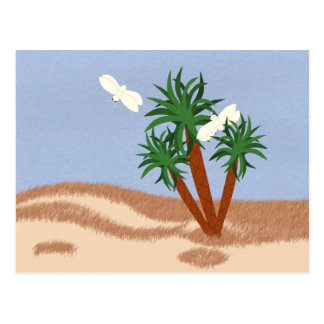 Yucca Plants and Yucca Moths Whimsical Cartoon Art Post Cards