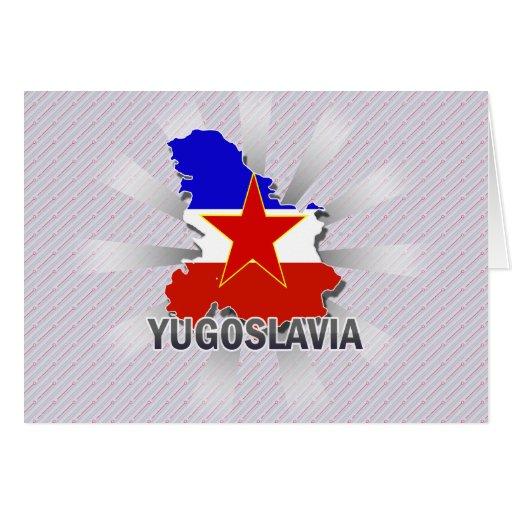 Yugoslavia Flag Map 2.0 Greeting Cards