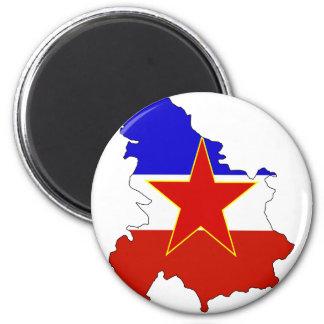 Yugoslavia flag map 2 inch round magnet
