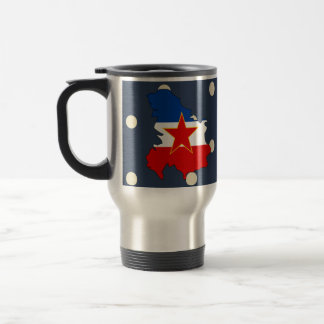 Yugoslavia Flag Map on Polka Dots Travel Mug