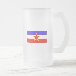 Yugoslavia Frosted Glass Beer Mug
