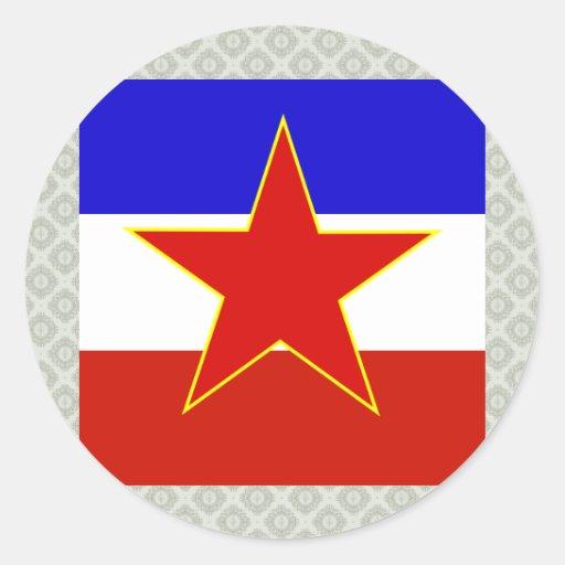Yugoslavia High quality Flag Round Stickers