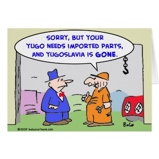 yugoslavia imported parts greeting card